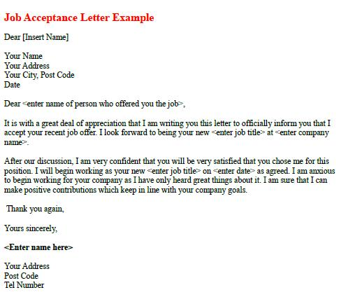 Job Acceptance Letter Example - Learnist.org