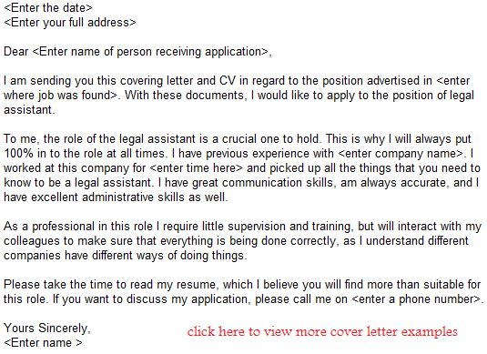 legal assistant job application letter