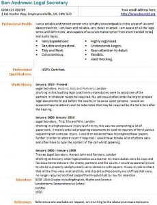 Legal Secretary CV Example