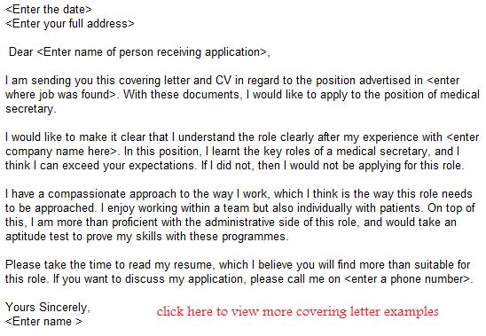 Medical Secretary Job Application Letter