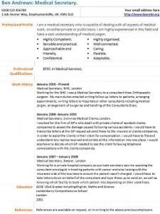 Medical secretary cv example learnist medical secretary cv template yelopaper Images