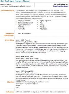 nursery nurse cv example - Nursing Cv Samples