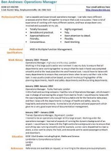 Operations Manager CV Example - Learnist.org