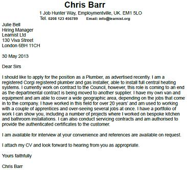 Cover letter for plumbing job this i believe essays about family