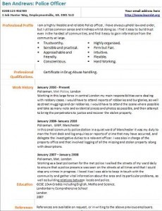 police officer cv example - Police Officer Sample Resume