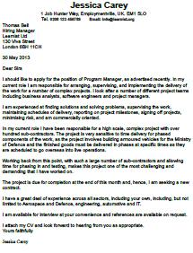 program manager cover letter example learnistorg - Program Manager Cover Letter Example