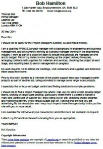 Project Manager Cover Letter Example  Cover Letter Project Manager