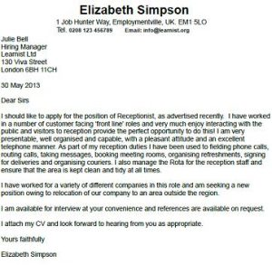 good covering letter for receptionist job