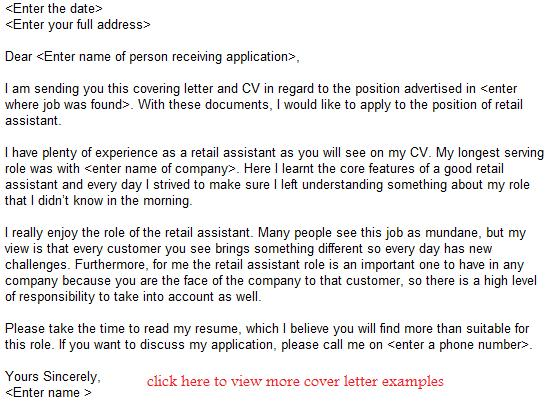 retail assistant job application letter