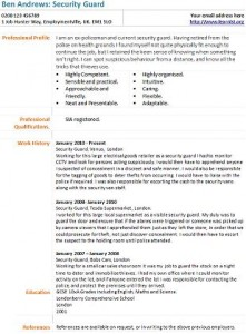 Security Guard Cv Example  Security Guard Resume Example