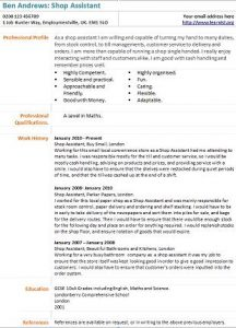 shop assistant cv example   learnist org
