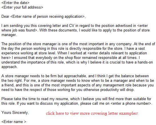 Store Manager Job Application Letter Example