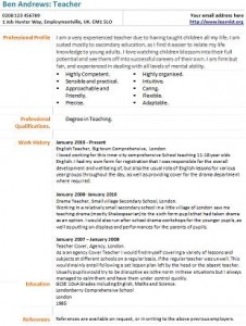 example teaching cv - Template