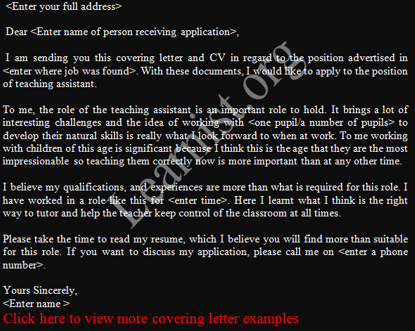 covering letter job application teaching assistant