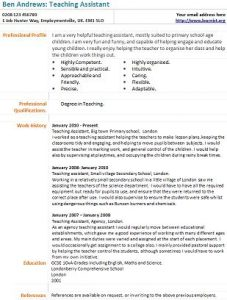 Teaching assistant cv example learnist teaching assistant cv example yelopaper Choice Image