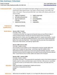 Volunteer Cv Example Learnist Org