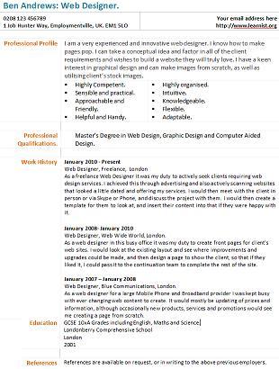Web Designer CV Example - Learnist org