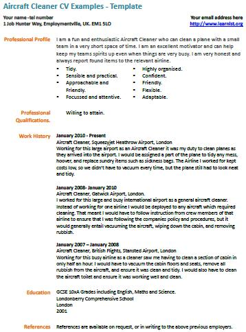 Aircraft Cleaner cv example