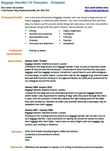 baggage handler cv example learnist org