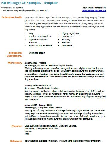 Bar Manager cv example