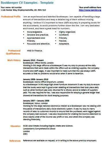 Bookkeeper CV Template