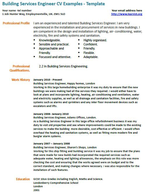 Building Services Engineer Cv Example  LearnistOrg