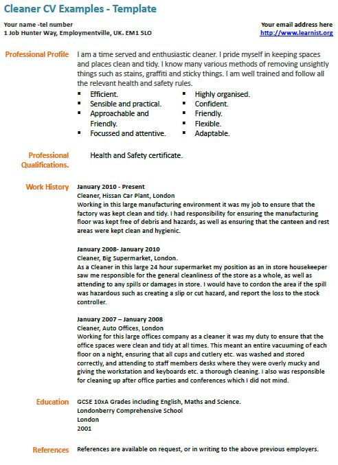 House Cleaning Professional House Cleaning Resume Sample