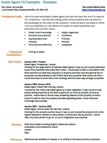 Estate Agent CV Template  Example Cv