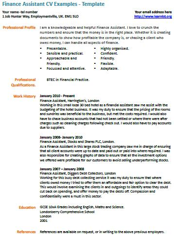 Finance Assistant CV Example