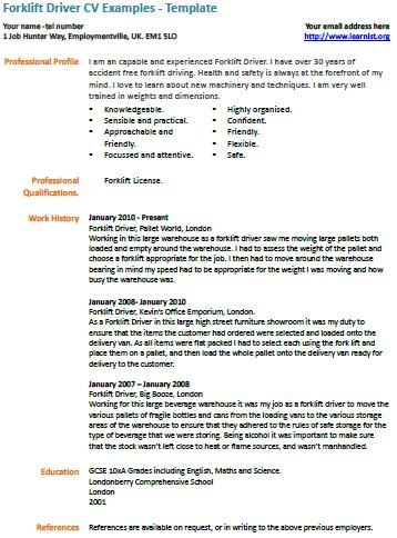 forklift driver cv example learnistorg