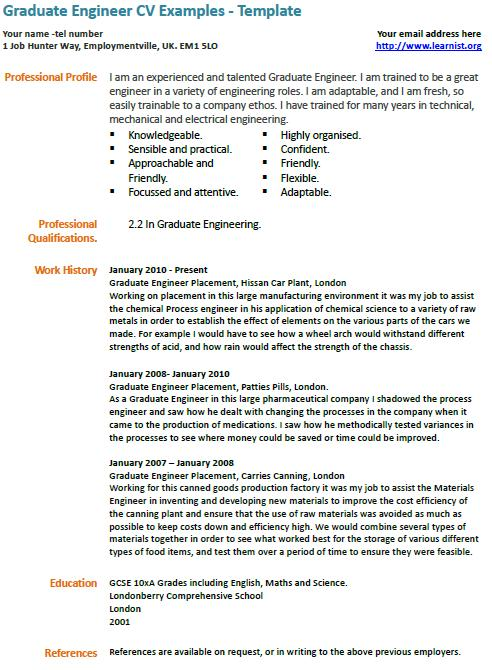 Graduate engineer cv example learnist professional profile yelopaper Choice Image