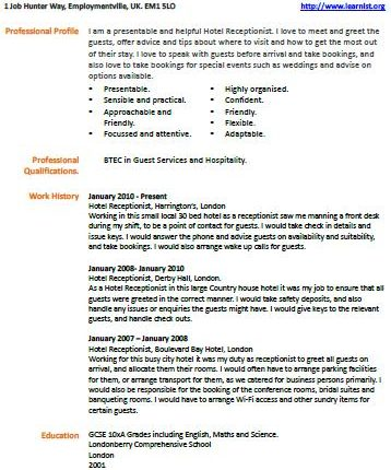 Hotel receptionist cv example learnist hotel receptionist cv example yelopaper Gallery