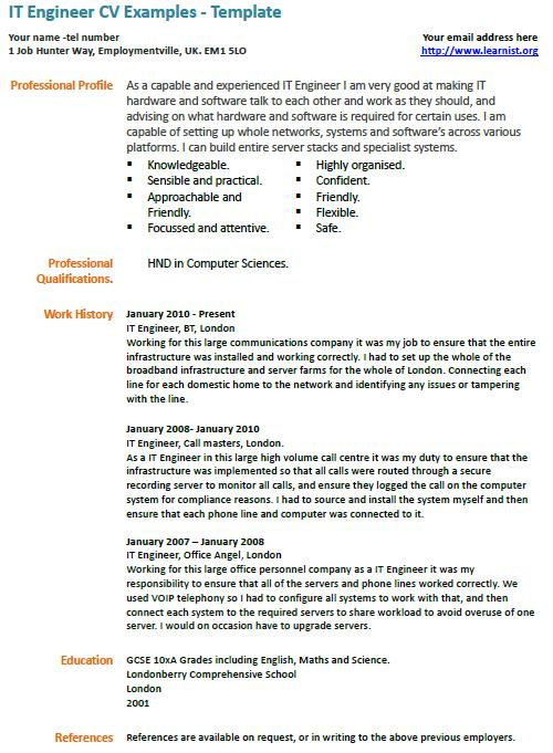 it engineer cv example