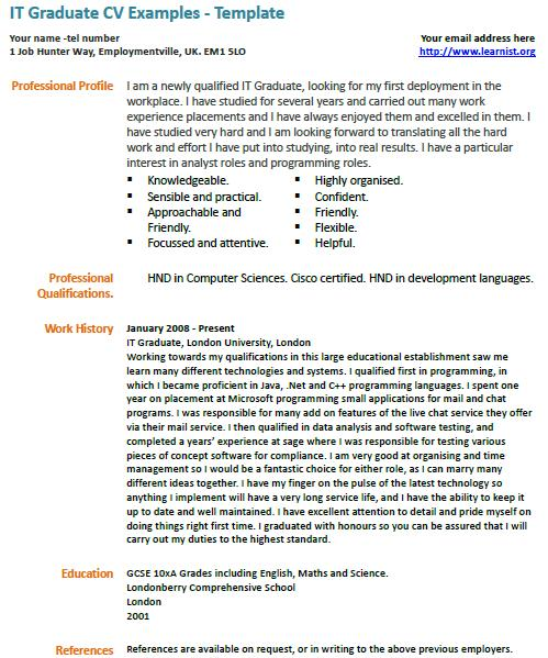 It Graduate Cv Example Learnist Org