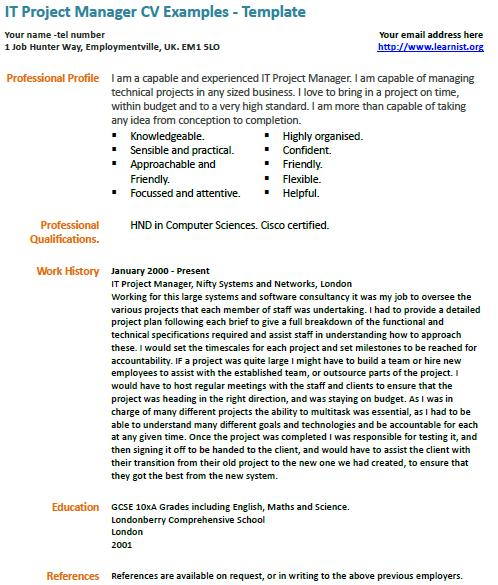 It Project Manager Cv Example Learnist Org