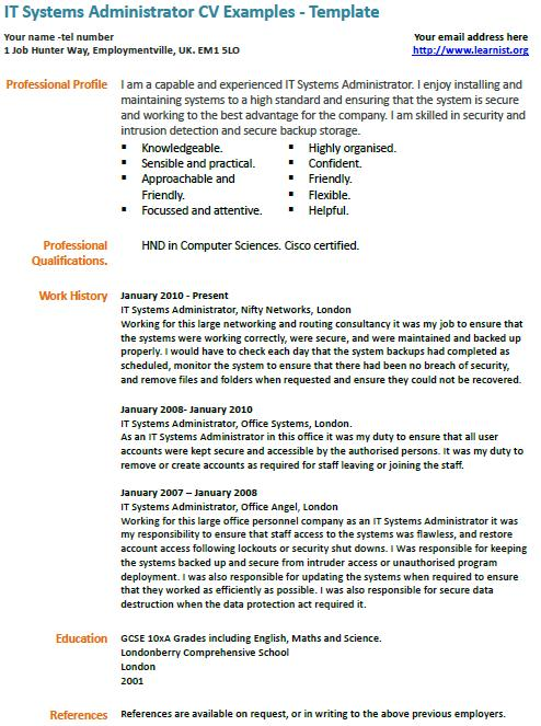 it systems administrator cv exle learnist org
