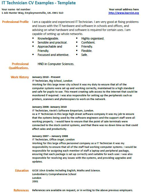It Technician Cv Example Learnist Org