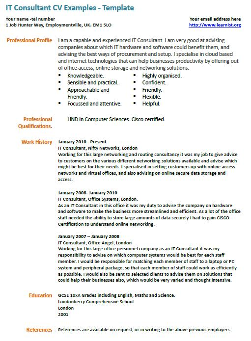 IT Consultant CV Example - Learnist org