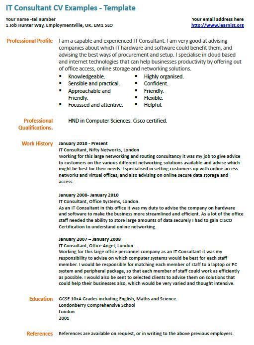 it consultant cv example