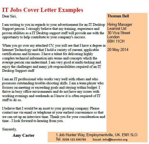 IT Jobs Cover Letter Examples