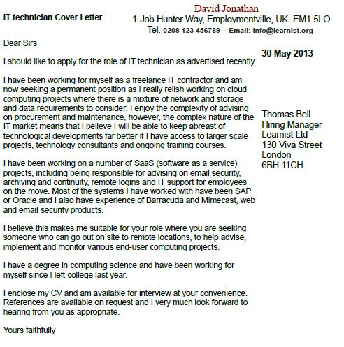 IT Technician Cover Letter Example - Learnist.org
