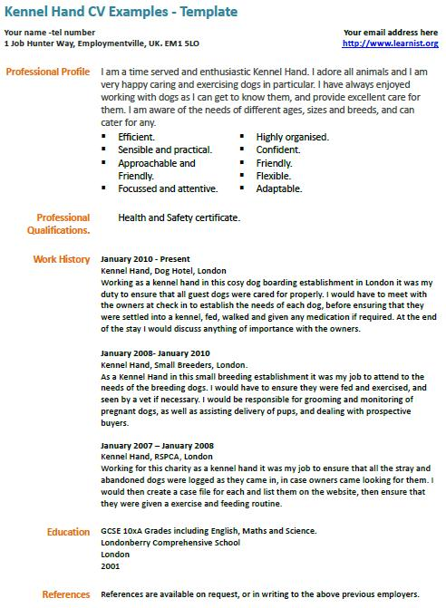 Kennel Assistant CV Example - Learnist.org