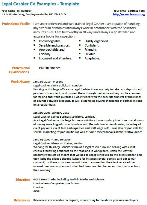 legal cashier cv example