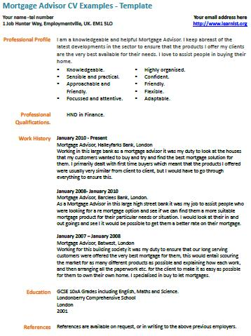 mortgage advisor cv example