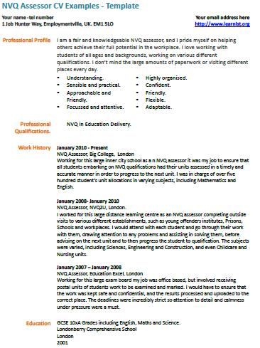nvq assessor cv example   learnist org