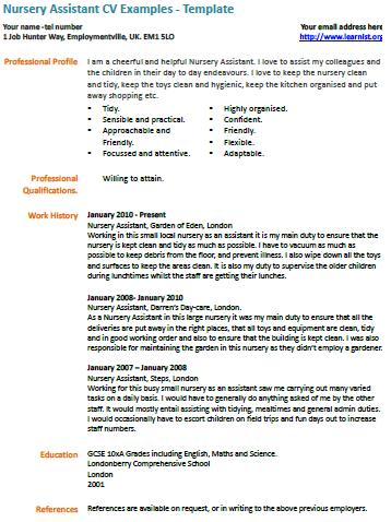 Nursery Assistant cv example