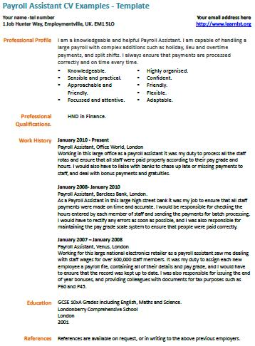 payroll assistant resume cover letter