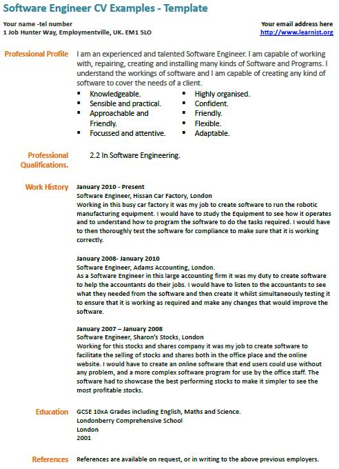 cv example software engineer