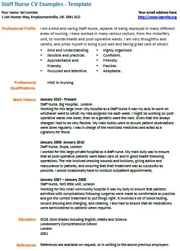 Staff Nurse Cv Example  LearnistOrg