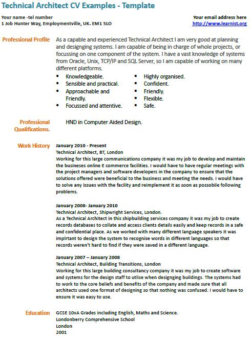 Technical architect cv example for English for architects